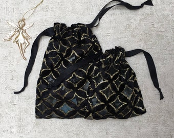 smallbags voile patterned embossed black and Gold - 2 sizes - reusable bags - zero waste