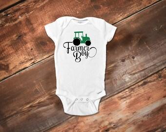 Farmer Boy Onesies®,Farm Onesies®, Farm Baby Clothes, Baby Boy Clothes, Baby Shower Gift, Cute Boy Onesies®, Baby Boy Tractor Shirt