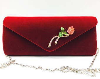 Velvet Bridesmaid Crystal Wine Red Clutch, Evening Rose Clutch, Night out Clutch