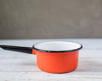 Vintage Orange and White and Black Enameled Pot-Food Photography Props