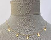 Gold Mini Charm Coin Circle Multi Tags Dangle Choker Tattoo Necklace // Gold Filled Non-Tarnish Dainty Boho Layering Necklace Minimalist