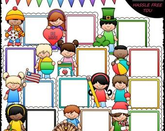 Calendar Message Board Kids 1 Clip Art and B&W Set