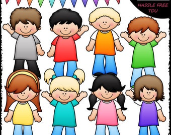 More Casual Kids Clip Art and B&W Set