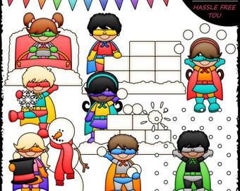 Winter Superhero Kids Clip Art and B&W Set