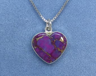 Small Mojave Purple Turquoise Heart Pendant Necklace - Sterling Silver - Dainty, Simple - Petite - Tiny - Delicate - P160906
