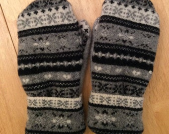 Gray Upcycled Wool Mittens