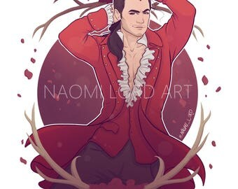 "Gaston Print 8x10"" or 6x8"", or Sticker"