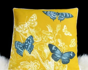 printed linen square cushion plants, insects, butterflies, original drawing, red white blue