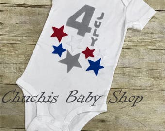 4th of july Baby onesie fourth of july bodysuits holiday independence day flag stars patriotic fireworks heart first year tie