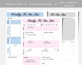 A4 Printable Business To Do Lists, Weekly todo list, daily todo list, Business pack, todo planner inserts, business todo list, organiser