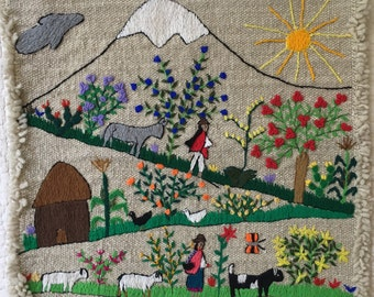 Embroidered Folk Art Textile Wall Hanging Vintage 70s South American Made in Ecuador