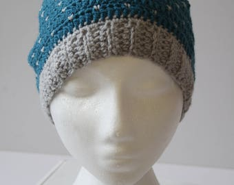 Crochet Snowfall Hat with Pompom in Blue & Grey