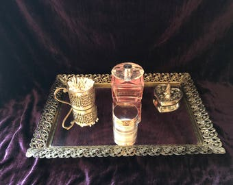Vintage Ornate Gold/Silver-Tone Ornate Framed Mirrored Gallery/Vanity/Serving Tray