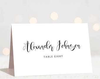 Calligraphy Wedding Place Cards Template Modern Wedding Name Cards Black and White Wedding Table Cards Wedding Seating Cards Reception Cards