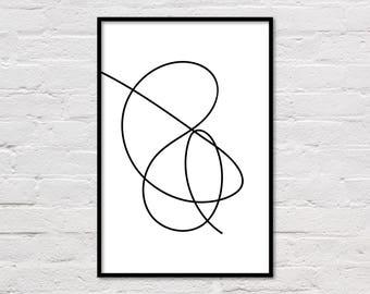 Black & White Line Drawing, Line Art Print, Modern Poster, Minimalist Wall Art, Sketch Art, Black Lines, Printable Art, Digital Download