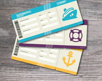 Printable Set of PDF Surprise Ticket for a Cruise Vacation