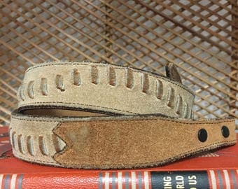 Vintage Two Toned Beige/Brown Leather Wrapped Belt, Hamd Made In Texas