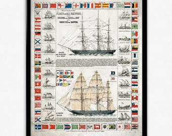 Sailing Ships and Flags Vintage Print - Ships Poster - Ship Sailing Art - Office Decor - Office Art - Home Decor - Nautical Science