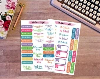 Functional School Teacher Set 2 Stickers Kit,  Planner Stickers, School Stickers