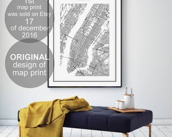 New York Map Print, New York Map, New York, NYC Map Print, Galadigitalprints, Manhattan Map Print, NY Map, United States City, US Map
