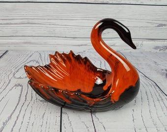 Vintage Orange and Brown Swan Shaped Trinket Dish Evangeline Ware Pottery Cannuck Candy Bowl  Modern Mid Century Evangelineware Canadian