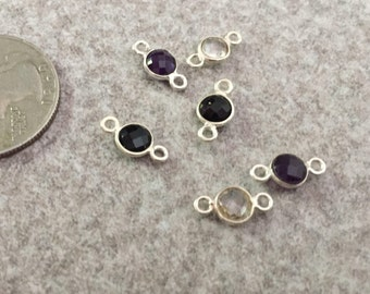 DESTASH SUPPLY *Sterling Silver Bezel and Gemstone connectors, jewelry components