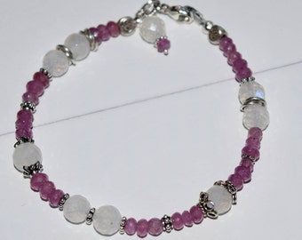 Pink Sapphire and Moonstone Bracelet~Sterling Silver and Stones Bracelet ~ Valentine's Day Gifts for her