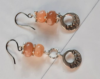 Peach Moonstone and Sunshine Earrings~ Moonstone, Karen Hill Tribe Sun Earrings~ Handmade Earrings