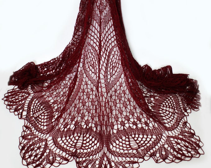 Linen shawl, maroon shawl , linen shawl, handknit shawl, delicate shawl, openwork shawl, knit shawl, knitted shawl, knit scarf, Summer shawl