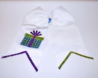 White Elegant Christmas present cheer bow