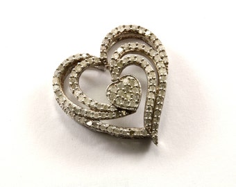 Vintage Heart Shape Natural Diamonds Inlay Pendant 925 Sterling PD 628-E