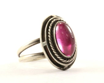 Vintage Oval Tourmaline Stone Ring 925 Sterling RG 2454