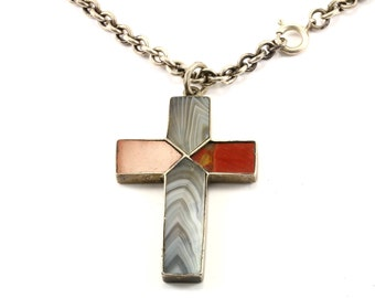 Vintage Jasper Inlay Cross Religious Necklace Silver NC 1061
