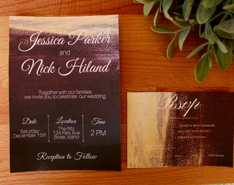 Winter Wedding Invitation, Formal Wedding invite, Red & Gold, Digital or Printed, Christmas