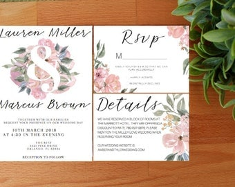 PRINTED Floral Wedding Invitation, Spring Wedding invitations, Summer Wedding Invitations, Floral Wedding Package
