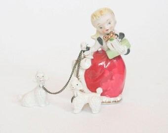 Vintage 1950s Poodle Ceramic - Girl walking Poodles on Leashes - Home Decor - Vanity Table - Metal Chains - Folk Art