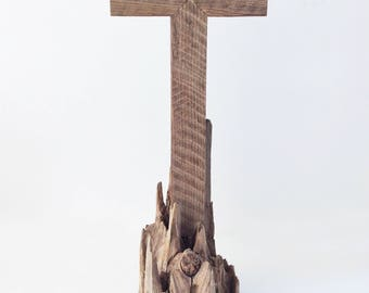 Wooden Cross On Driftwood Base