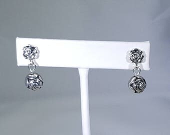 Silver Rose Bead Earrings