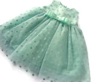 Mint girls tutu dress, first birthday outfit girl, polka dot tulle girl dress, Wedding Bridesmaid Toddler Junio