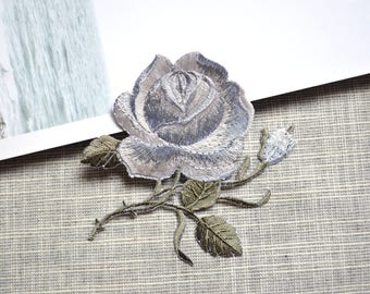 Gray rose flower patch ,Iron-on flower  patch ,gray rose embroidered patch