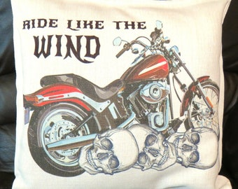 Motorbike Cushion Cover, Ride Like the Wind, Motorcycle Throw Pillow, Motorcycle Gifts.