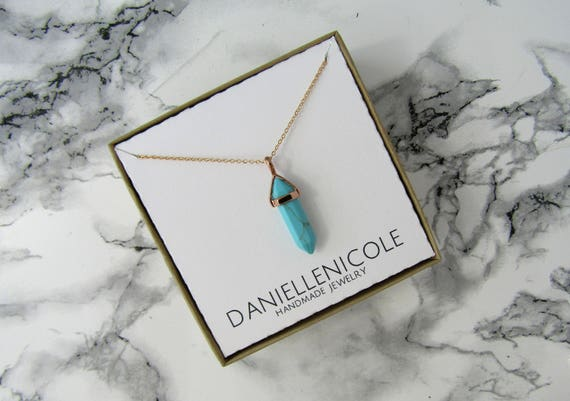 Rose Gold Turquoise Pendant Necklace, Pendant Necklace, Everyday Jewelry, Statement Jewelry, Layering Necklace, Boho Necklace, Boho Jewelry