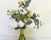 Rustic bridal bouquet artificial silk flowers ivory green peony rose peony bouquet wedding flowers boho bouquet
