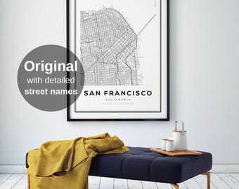 San Francisco Map Print, California Map, San Francisco Map Poster, San Francisco, California, SF Map, City Map Print, Black and White Map
