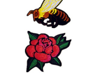 Yellow and rose Patch Embroidered Applique Sew On /Iron on Patch  gpo012