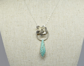 Sterling Silver Turquoise Succulent Necklace