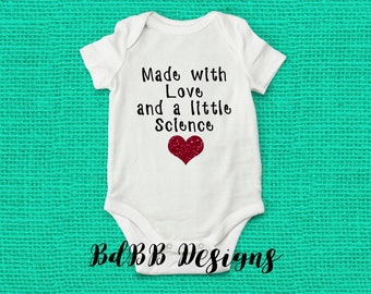Made with Love and Science IVF Pregnancy Announcement Onesie / Baby Announcement Onsie / IVF Baby Pregnancy Reveal / Maternity Photo Prop