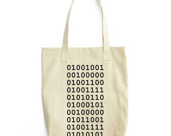I LOVE YOU in Binary personalized bag