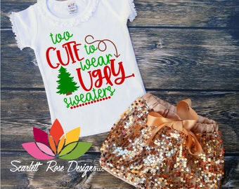 Too cute to Wear Ugly Sweaters Christmas tree design SVG design cut file for silhouette cameo and cricut