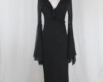 Vintage EXPRESS 1930's 40's Style Black with white Polka Dots Silk Bias Cut Bell Sleeve Dress  8